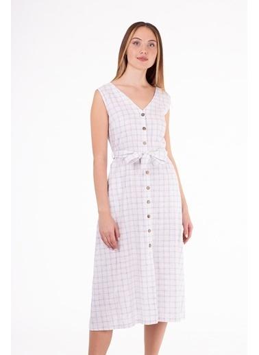 Stamina  Bayan Çift V Yaka Kolsuz Elbise-5KTE7 Mavi